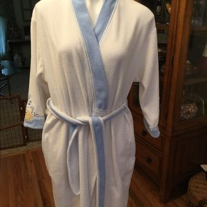 White terrycloth robe with blue trim